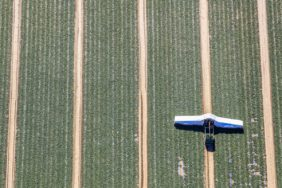 Aerial view of the cucumber plane on the vegetable field - Klaus Leidorf Aerial Photography