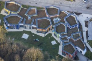 Aerial view of the kindergarten on Stadionstraße behind the town hall in Dingolfing - Klaus Leidorf Aerial Photography