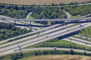 Aerial view from the intersection of the motorways A8 and A7 near Ulm/Elchingen - Klaus Leidorf Aerial Photography