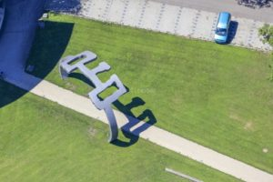 """Aerial view of the artwork """"Gate of the Wind"""" by Wilhelm Holderied in Lauingen (Danube) - Klaus Leidorf Aerial Photography"""