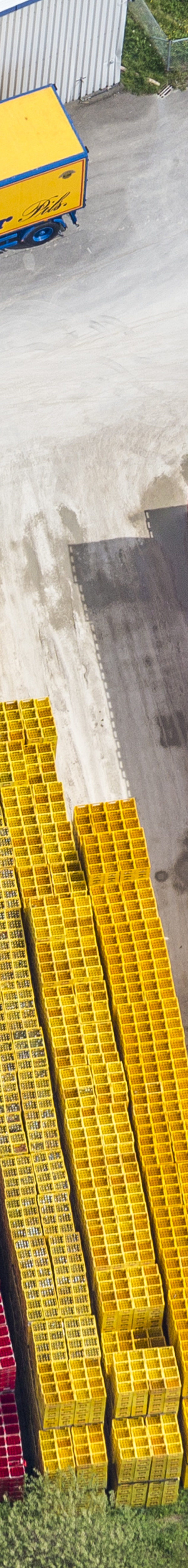 Aerial view of the storage area for beer crates of a brewery - Klaus Leidorf Aerial Photography