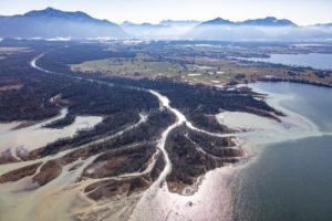 Aerial view of the delta where the Tiroler Achen flows into the Chiemsee - Klaus Leidorf Aerial Photography
