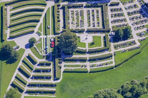 Aerial view of the new cemetery in Neumarkt-Sankt Veit - Klaus Leidorf Aerial Photography