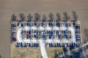 Aerial view of the car park Zwergerstraße in Neubiberg - Klaus Leidorf Aerial Photography