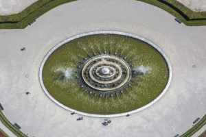 Aerial view of the fountain in the garden of Herrenchiemsee Palace - Klaus Leidorf Aerial Photography