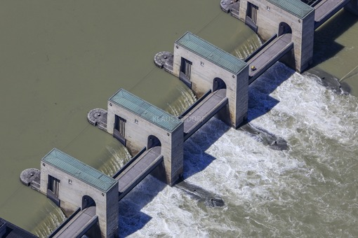 Aerial view of the Jochenstein hydroelectric power plant in the Danube - Klaus Leidorf Aerial Photography