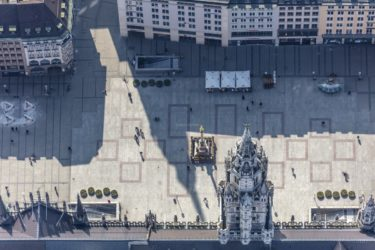Aerial photograph of the almost deserted Marienplatz in Munich on 20 March 2020 - Klaus Leidorf Aerial Photography