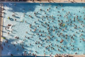 Aerial view of the well-visited wave pool in Landsberg am Lech - Klaus Leidorf Aerial Photography