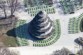 Aerial view of the empty beer garden at the Chinese Tower in the English Garden in Munich - Klaus Leidorf Aerial Photography