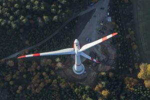Aerial view of the new wind power plant near Postau-Moosthann in the Landshut district of Bavaria - Klaus Leidorf Aerial Photography
