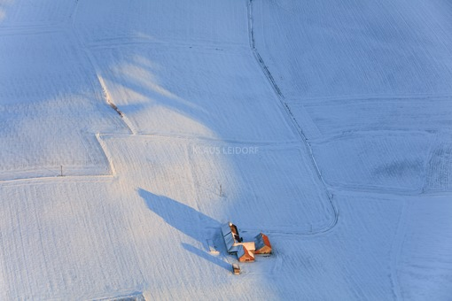 Aerial view of the abandoned farm Binsham in winter - Klaus Leidorf Aerial Photography