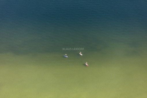 Aerial view of 3 SUPs on the Ammersee - Klaus Leidorf Aerial Photography
