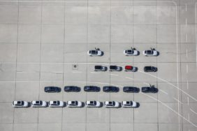 Aerial view of BMW vehicles on the test track at Fürstenfeldbruck airport - Klaus Leidorf Aerial Photography