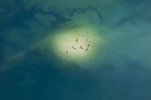 Aerial view of bathers on a shallow spot in the bathing lake - Klaus Leidorf Aerial Photography