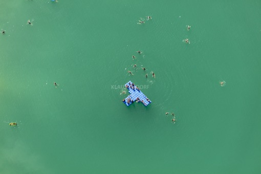 Aerial view of bathers in the Pucher Meer - Klaus Leidorf Aerial Photography