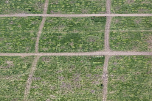Aerial view of vegetation features of the camp site of the music festival Utopia 2016 in the Aquapark near Moosburg, abandoned two days ago - Klaus Leidorf Aerial Photography