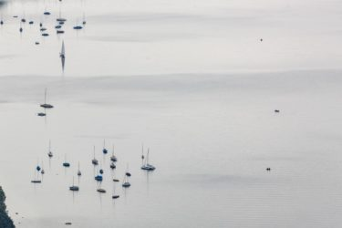 Aerial view of boats on the Starnberger See off Ammerland - Klaus Leidorf Aerial Photography