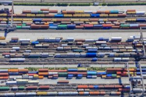 Aerial view of containers at Riem transhipment station - Klaus Leidorf Aerial Photography