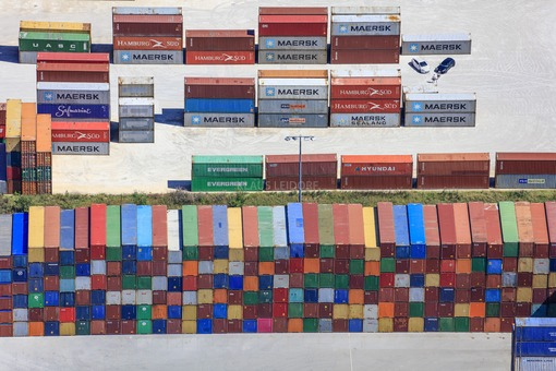 Aerial view of containers in the Dornstadt industrial estate - Klaus Leidorf Aerial Photography