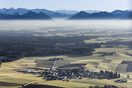 Aerial view of Dettendorf before the Alps - Klaus Leidorf Aerial Photography