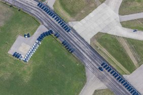 Aerial view of vehicles in the BMW Driving Academy Maisach on the former Fürstenfeldbruck airfield - Klaus Leidorf Aerial Photography