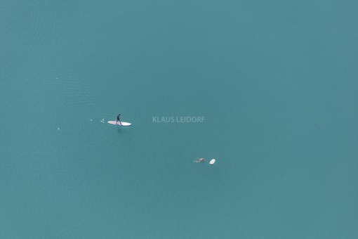 Aerial view of leisure activities in the water from the aquapark near Moosburg - Klaus Leidorf Aerial Photography