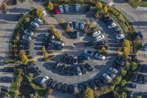 Aerial view of used cars in a circle - Klaus Leidorf Aerial Photography