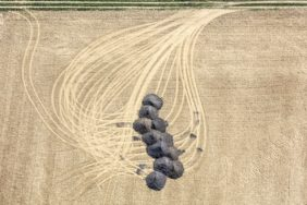 Aerial photograph of humus delivery for the field - Klaus Leidorf Aerial Photography