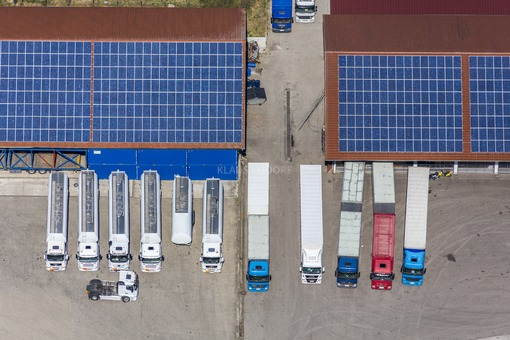 Aerial view of trucks in the yard of a forwarding agency - Klaus Leidorf Aerial Photography