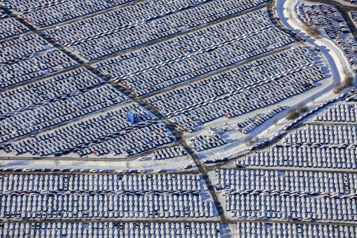 Aerial view of new vehicles on stockpile - Klaus Leidorf Aerial Photography