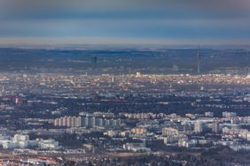 Aerial view of Neuperlach with the city of Munich in the background - Klaus Leidorf Aerial Photography