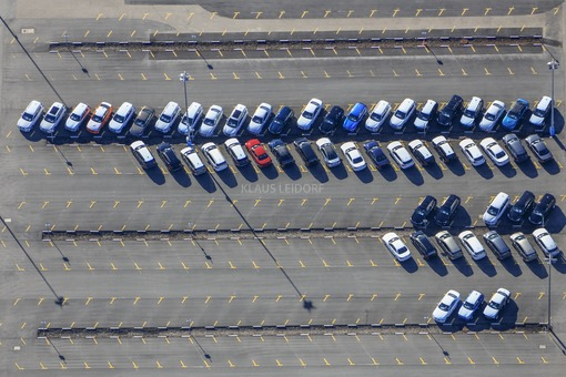 Aerial view of new cars at BMW plant Regensburg-Harteing - Klaus Leidorf Aerial Photography