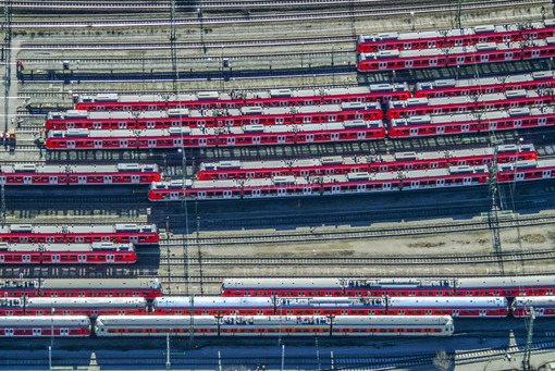 Aerial view of passenger cars in local rail traffic at the S-Bahn depot in Munich-Berg am Laim - Klaus Leidorf Aerial Photography