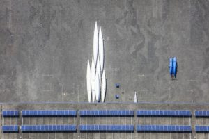 Aerial view of rowing boats waiting upside down for transport - Klaus Leidorf Aerial Photography