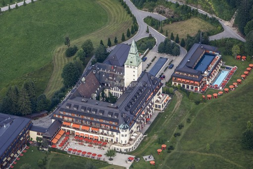 Aerial view of Schloss Elmau, the meeting place of the G7 in June 2015 - Klaus Leidorf Aerial Photography