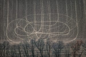 Aerial view of tracks in the field - Klaus Leidorf Aerial Photography