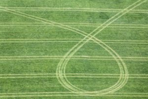 Aerial view of traces on the field, loop of the peasant painting - Klaus Leidorf Aerial Photography