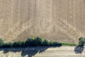 Aerial photograph of tracks on the harvested field in front of a hedge - Klaus Leidorf Aerial Photography