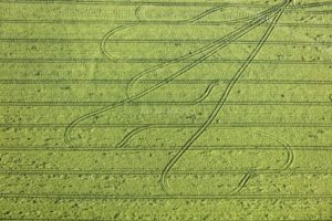 Aerial photograph of traces of the farmer in the grain field - Klaus Leidorf Aerial Photography