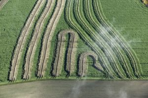 Aerial photograph of traces of a harvest trip of the farmer in a field with green manure - Klaus Leidorf Aerial Photography