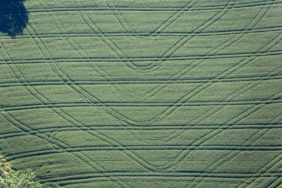 Aerial photograph of tracks in a grain field - Klaus Leidorf Aerial Photography