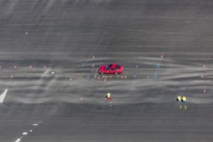 Aerial view of test drives on wet ground - Klaus Leidorf Aerial Photography