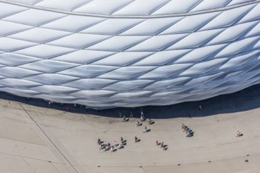 Aerial view of tourists at the Allianz Arena football stadium in Munich-Fröttmaning - Klaus Leidorf Aerial Photography