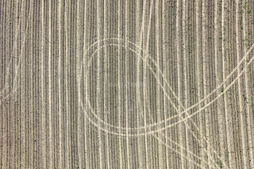 Aerial photograph of tractor tracks on the harvested maize field - Klaus Leidorf Aerial Photography