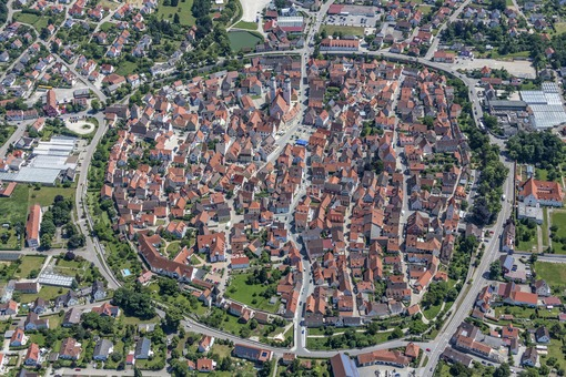 Aerial view of the historic town of Wemding - Klaus Leidorf Aerial Photography