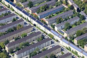Aerial view of apartment blocks in Munich-Neuhausen - Klaus Leidorf Aerial Photography