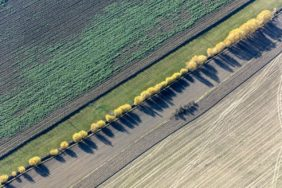 "Aerial view of the creek ""Freidlinger Graben"" in the farmland - Klaus Leidorf Aerial Photography"