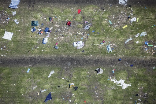 Aerial view of the remains of the festival Utopia Island 2013 at the Aquapark - Klaus Leidorf Aerial Photography