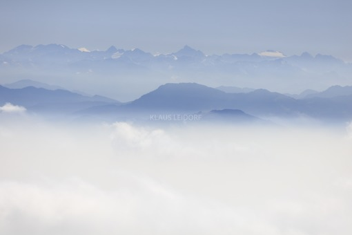 Aerial view of the Alps with hazy Alpine foreland - Klaus Leidorf Aerial Photography
