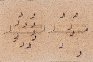 Aerial view of the beach volleyball courts at Riemer See - Klaus Leidorf Aerial Photography